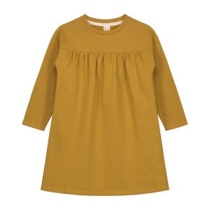 Sukienka - PLEATED DRESS MUSTARD